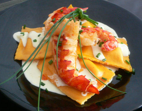 Crab Ravioli with Saffron Creme