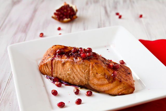 Grilled Salmon with Pomegranates