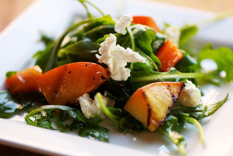 Grilled Peach Salad with Ricotta and Arugula, Eric Hegwer Photography