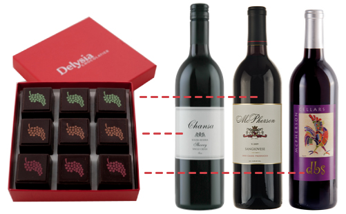 Delysia Chocolatier wine infused truffles featuring 3 McPherson Cellars wines