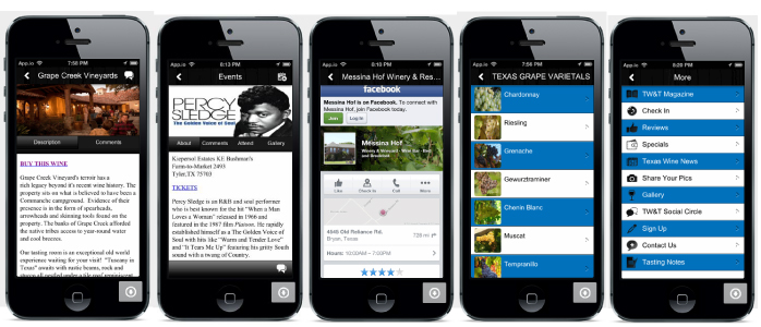 More images of several functions inside the Texas Wine and Trail app!