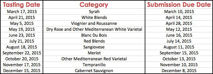 Texas Wine Journal 2015 Tasting Schedule