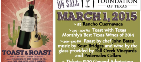 Wine & Food Foundation of Texas to Host Inaugural Toast & Roast Event March 1