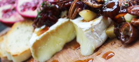 Warm Maple Brie with Apples, Cranberries, Dates & Pecans Paired With Hye Meadow Winery 2015 Eldezwicker