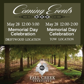 Fall Creek Vineyards Coming Events